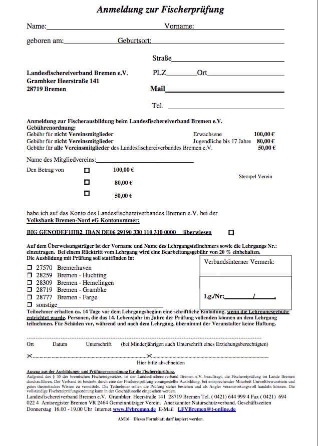 Anmeldung Fischerprüfung Bremen