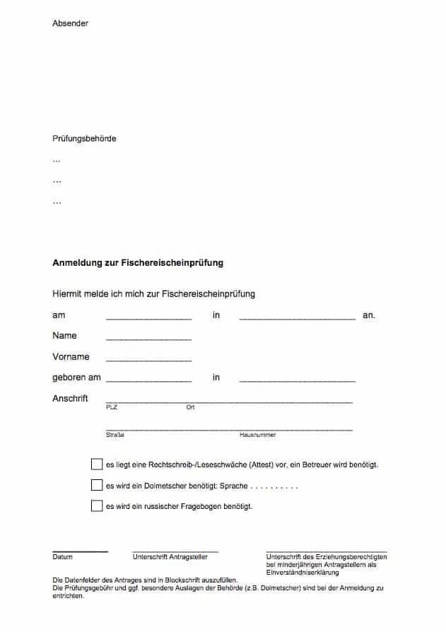 Fischerprüfung Mecklenburg Vorpommern Antrag Anmeldung