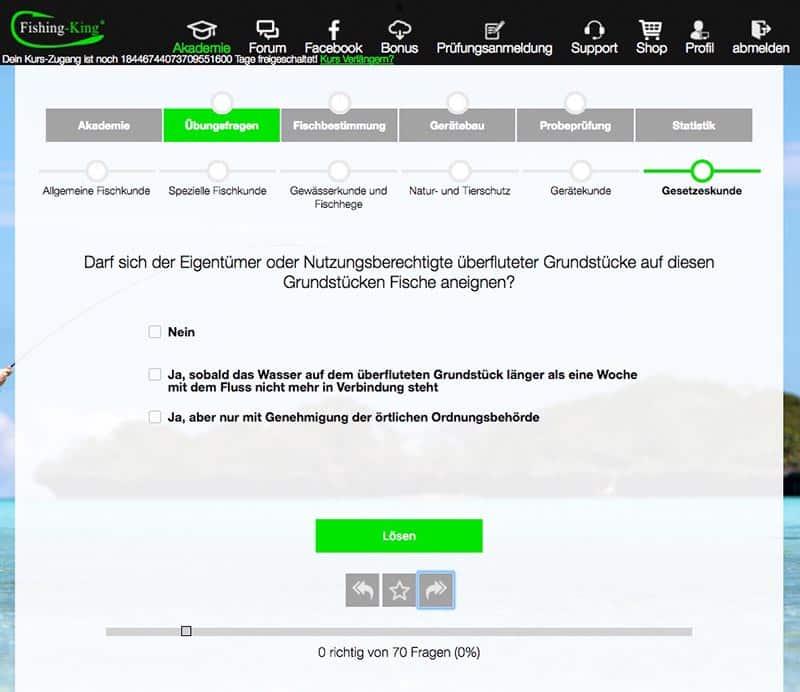 Vorbereitungskurs Angelschein Niedersachsen Fragen Gesetzeskunde