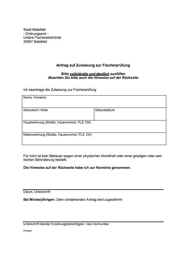Antrag auf Zulassung zur Fischerprüfung Bielefeld