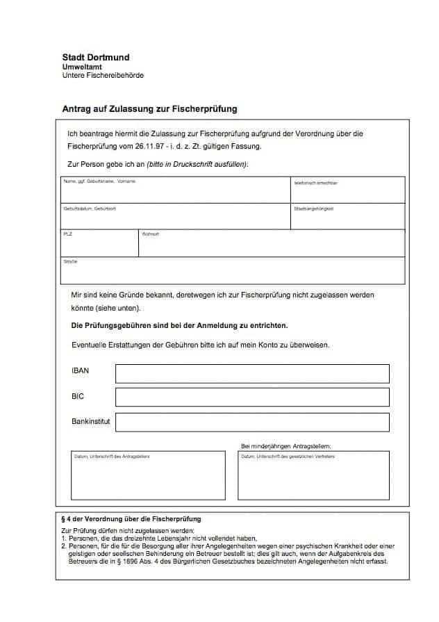 Antrag auf Zulassung zur Fischerprüfung Dortmund