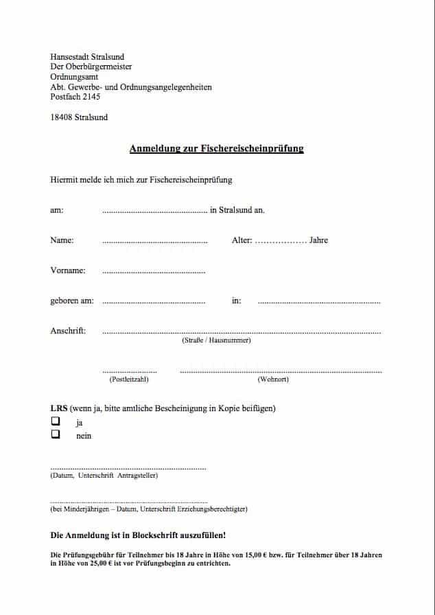 Fischereischein Stralsund Lehrgang Anmeldung Fischerprüfung