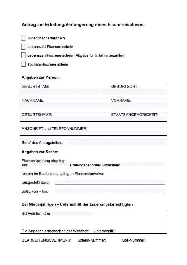 Angelschein Schweinfurt beantragen Antrag